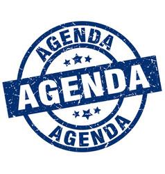 Agenda blue round grunge stamp vector