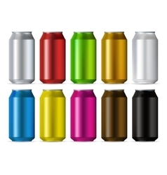 Aluminum cans color set vector image