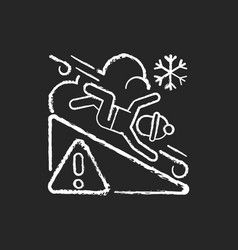 Avalanche warning sign chalk white icon on black vector