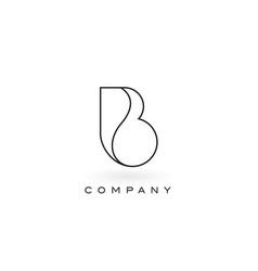 B monogram letter logo with thin black monogram vector