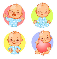 Baby emotions sticker set cry happy meditate vector