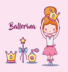 Ballerina accesories decoration to elegance vector