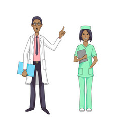 Black doctor talking and female nurse isolated vector