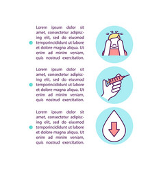 Blood test anxiety concept icon with text vector