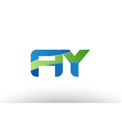 blue green ay a y alphabet letter logo vector image