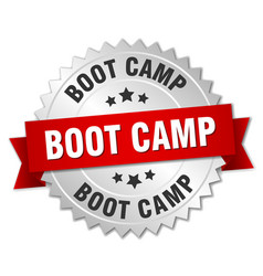 Boot camp round isolated silver badge vector