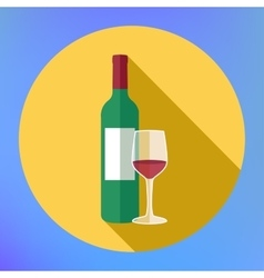 Bottle wine and glass flat icon vector image