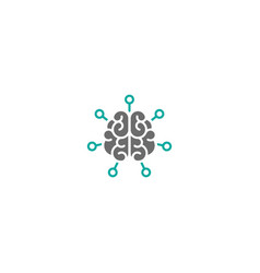 brain with chip or hub system icon intellect vector image