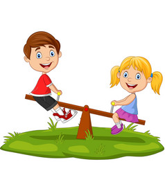 cartoon kids playing on seesaw in park vector image