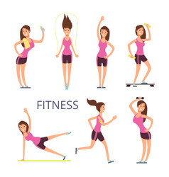 Cartoon sport young woman characters fitness girl vector