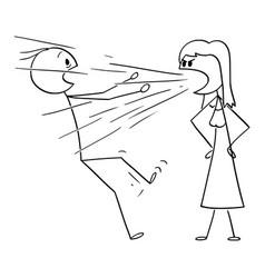 Cartoon woman screaming or yelling at man vector