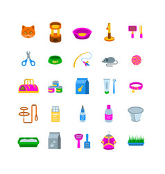 cat accessories flat icons vector image