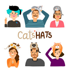 cats hats cartoon icons vector image