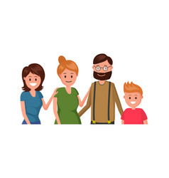cheerful family flat poster vector image