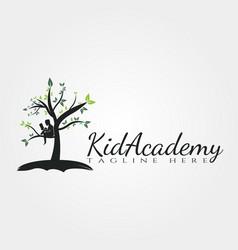 Children academy tree logo designkid academy icon vector