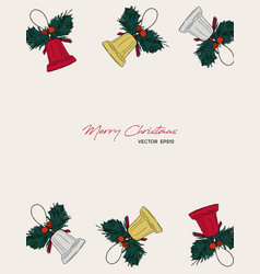 christmas gift card hand drawn sketch set vector image