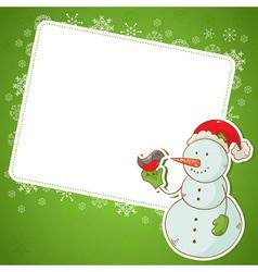 christmas snowman invitation postcard vector image