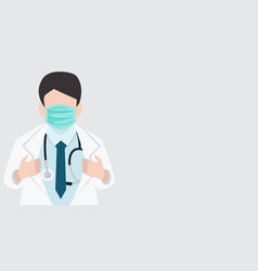 Close up doctor opening shirt with medical mask vector
