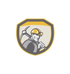 Coal Miner Hardhat Holding Pick Axe Shield Retro vector