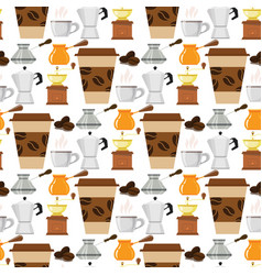 coffee cup coffeemaker seamless pattern background vector image