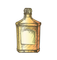 Color square classic tequila bottle with cork cap vector