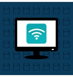 Computer wifi technology vector image