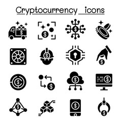 cryptocurrency icon set vector image