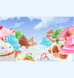 cupcake fairy cake winter sweet landscape vector image