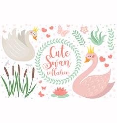 cute swan princess character set objects vector image
