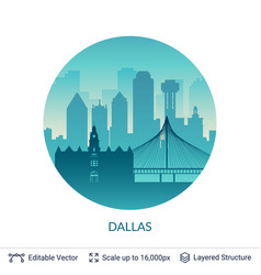 Dallas famous city scape vector