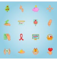 Donation icons set cartoon style vector image
