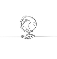 earth globe above books stack single continuous vector image