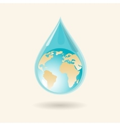 Earth in water drop vector image