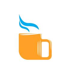 emblem of orange mug with steam vector image