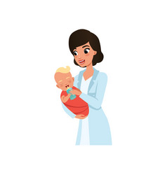 female pediatrician or nurse in white coat feeding vector image