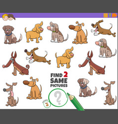 Find two same dogs task for children vector