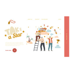 Follow dream landing page template characters vector