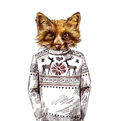 Fox in knitted sweater vector