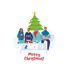friends celebrating christmas together at home vector image