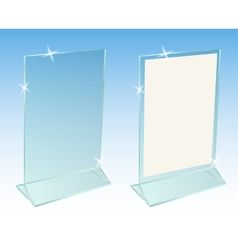 Glass transparent advertising desktop stand vector