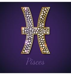 Golden Pisces zodiac signs vector image