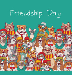 Group fashion best friends cats and dogs fun vector
