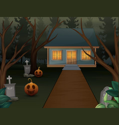 Halloween background with scary house in the night vector