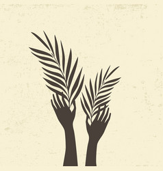 Hands with palm branches vector