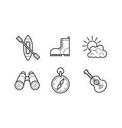 hiking and camping linear icons set recreation vector image