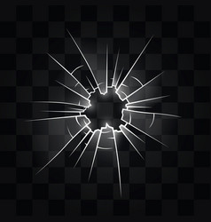 Hole in the glass from the bullet vector