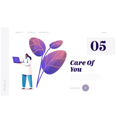 Hospital healthcare staff at work landing page vector