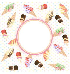 ice cream with circle copy space vector image