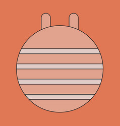 Icon in flat design fitball vector