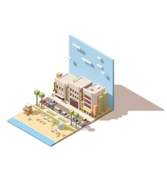 Isometric town beach vector